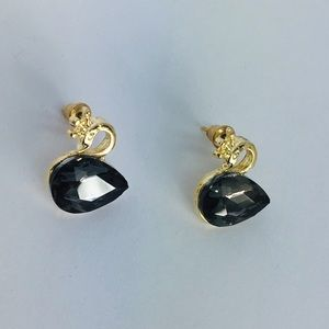 New! Black Crystal Swan Stud Earrings Gold